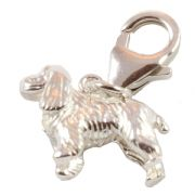 Large Cocker Spaniel Dog 3D Sterling Silver Clip On Charm - With Clasp